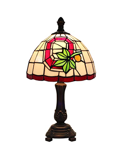 Yolic Tiffany Style Glass Table Lamp 9-inch NCAA Ohio State Buckeyes Stained Glass Table Lamp Q Sign Decoration Tiffany Glass Lamp Shade