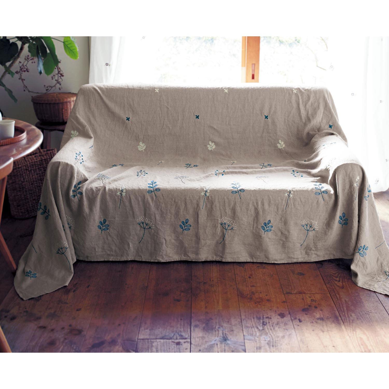 [ベルメゾン] フレンチリネン刺繍のマルチカバー ベージュ系 サイズ(cm):約190×270 サイズ(cm):約190×270 ベージュ系 B079S41VZC