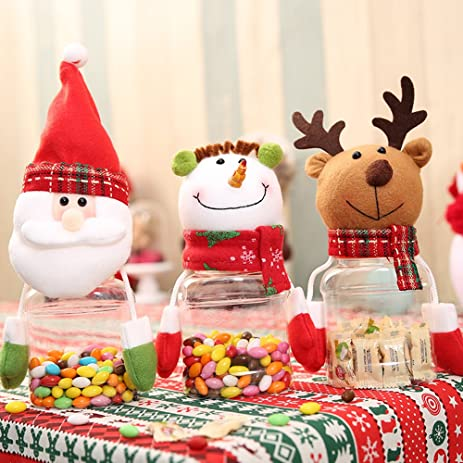 lohome christmas candy jars 3 pack with candy container set sugar bowls candy storage bottle santa