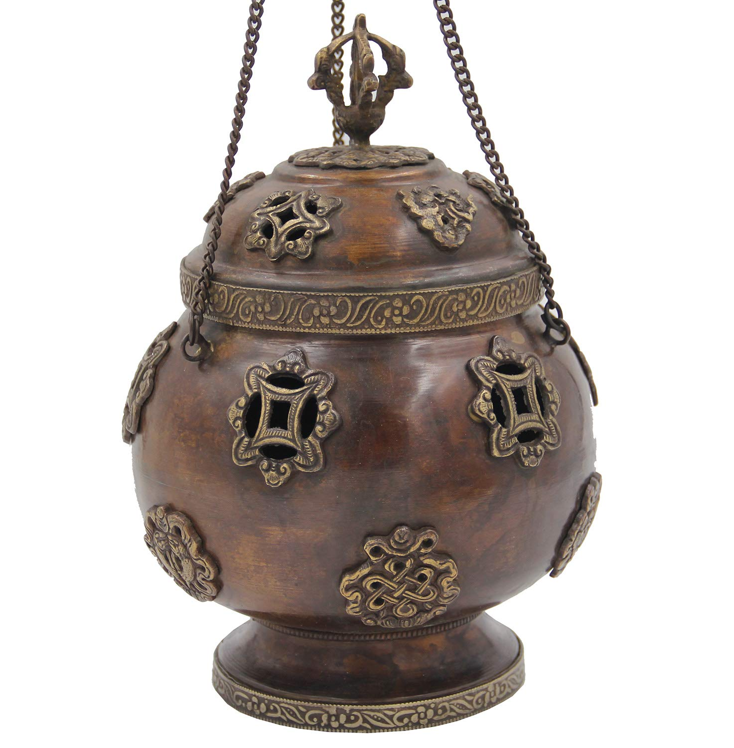 DharmaObjects Tibetan Traditional Hanging Incense Burner Copper (6 x 4.5 x 4.5 Inches, Hanging 8)