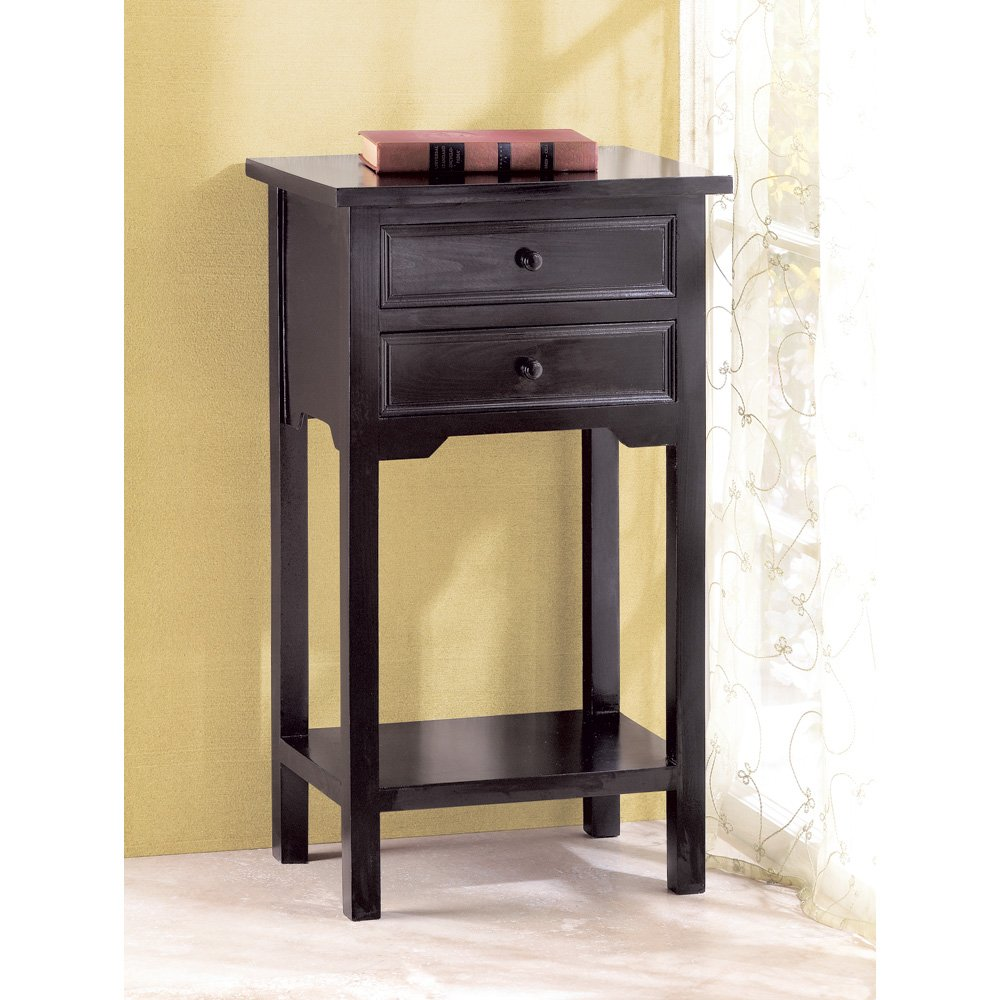 Amazon.com: Black Pine Wood Two Drawer Side Table Phone Plant Stand:  Kitchen U0026 Dining