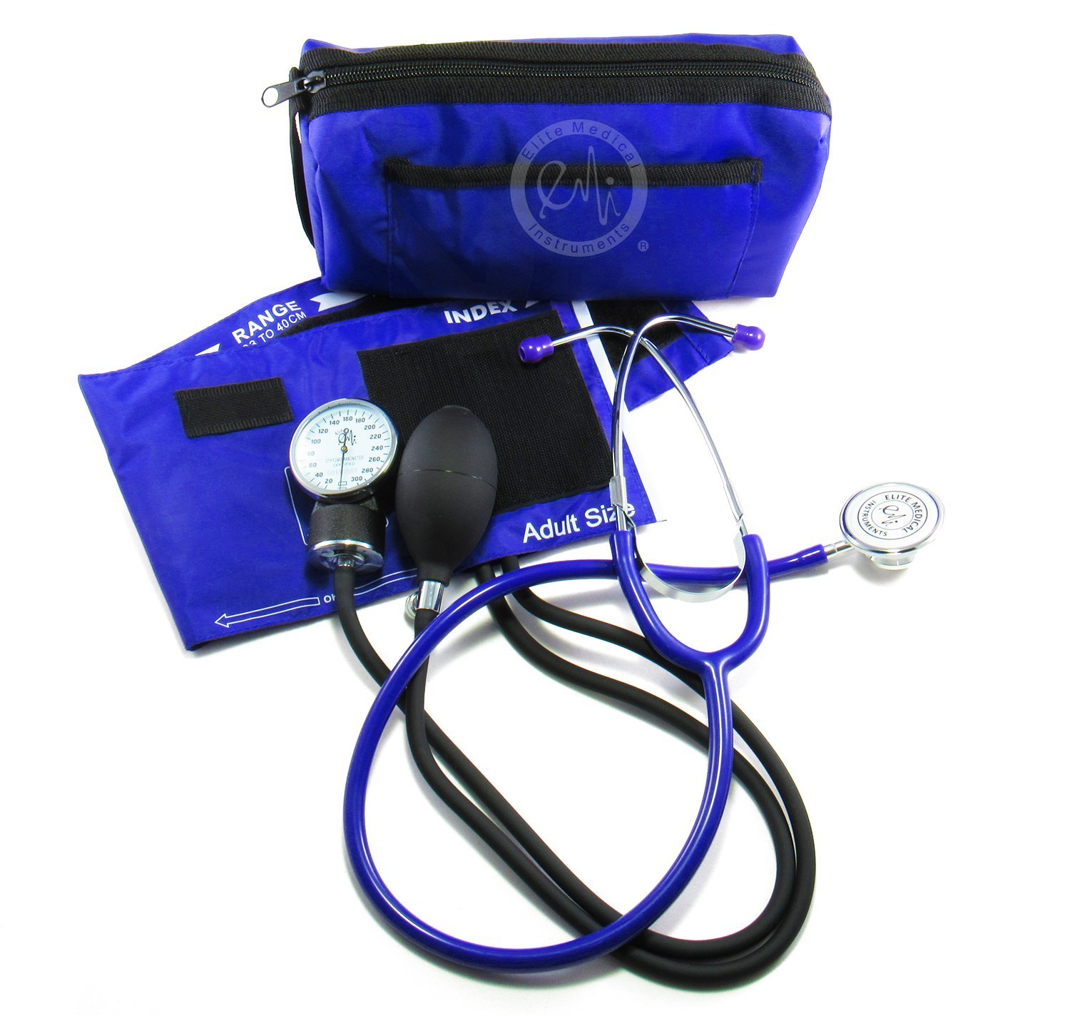 EMI #305 Aneroid Sphygmomanometer Blood Pressure Monitor and Dual Head Stethoscope Kit Set (305, Royal)