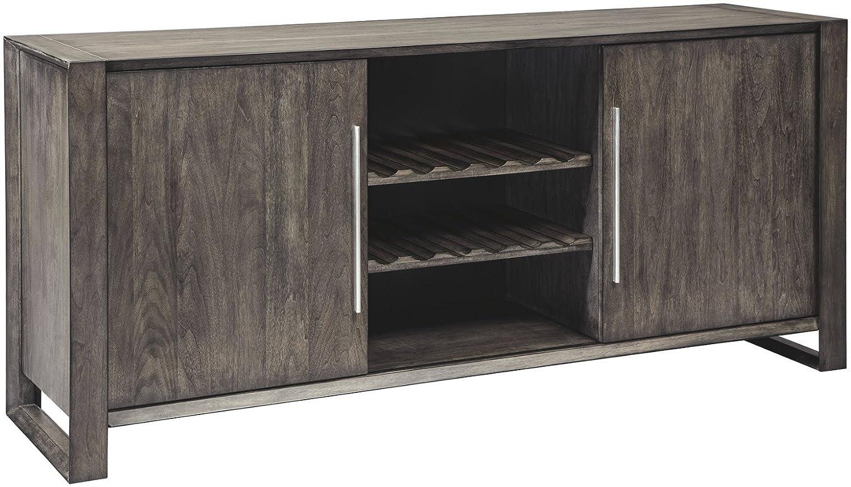 Ashley Furniture Signature Design - Chadoni Dining Room Server - Contemporary - Sliding Doors - Smoky Gray Finish