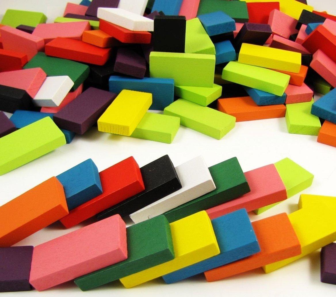 BlueSnail 10 Colors Authentic Standard Basswood Wooden Domino Blocks Set, Kids Educational Racing Toy Tile Games(240 pcs)
