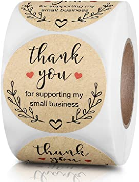 500 PCS Thank You Stickers For Your Purchase Business Labels Round Heart L3C3