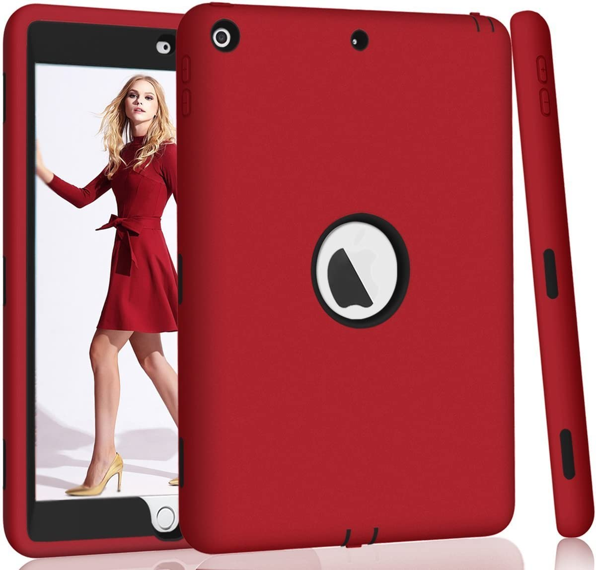 Hocase iPad 5th/6th Generation Case, iPad 9.7 2018/2017 Case, High-Impact Shock Absorbent Dual Layer Silicone+Hard PC Bumper Protective Case for iPad A1893/A1954/A1822/A1823 - Red / Black