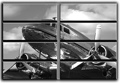 8 Huge Piece Dc-3 Dakota Airplane Wall Art Decor Picture Painting Poster Print on Canvas Panels Piece