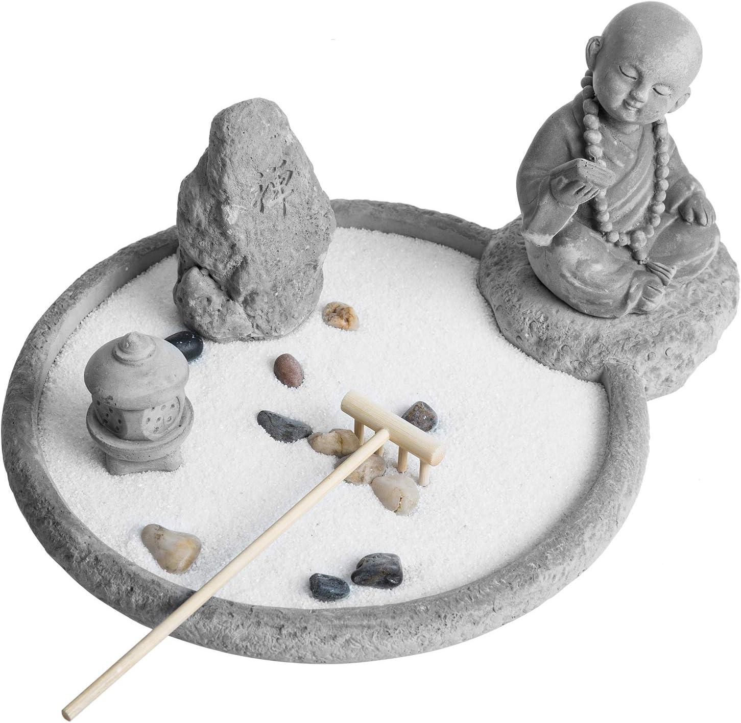 MyGift Japanese Desktop Rustic Cement Buddha Monk Statue Zen Garden Kit with Sand, Rocks & Rake