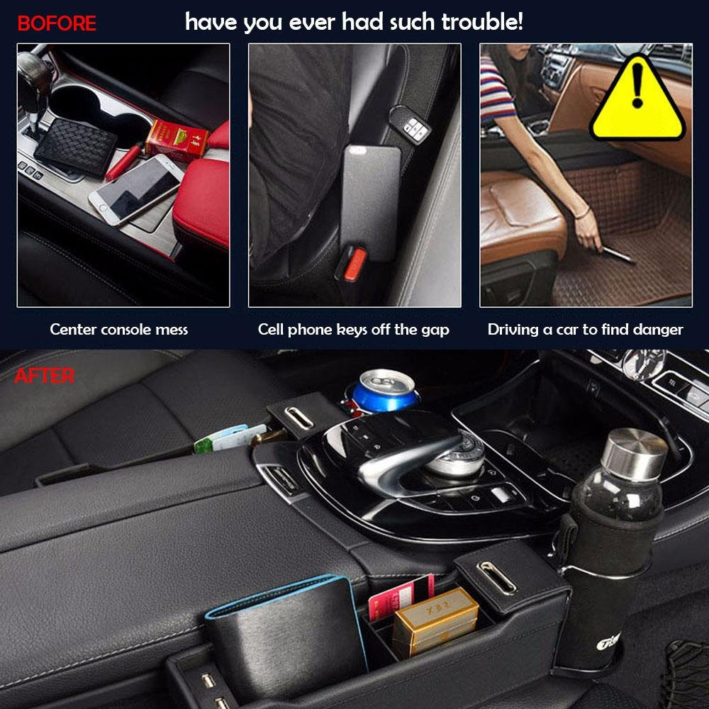 Black, Drivers Side Car Seat Organizer Caddy Slit Gap Filler PU Leather Console Side Pocket with Coin /& Cup Holder Stop Before It Drops