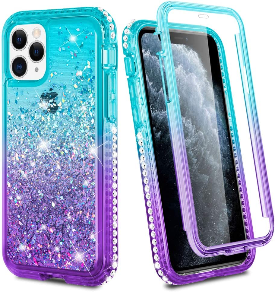 Ruky iPhone 11 Pro Max Case, iPhone 11 Pro Max Glitter Case Full Body Rugged Liquid Cover with Built-in Screen Protector Shockproof Protective Case for iPhone 11 Pro Max 2019 (Aqua)