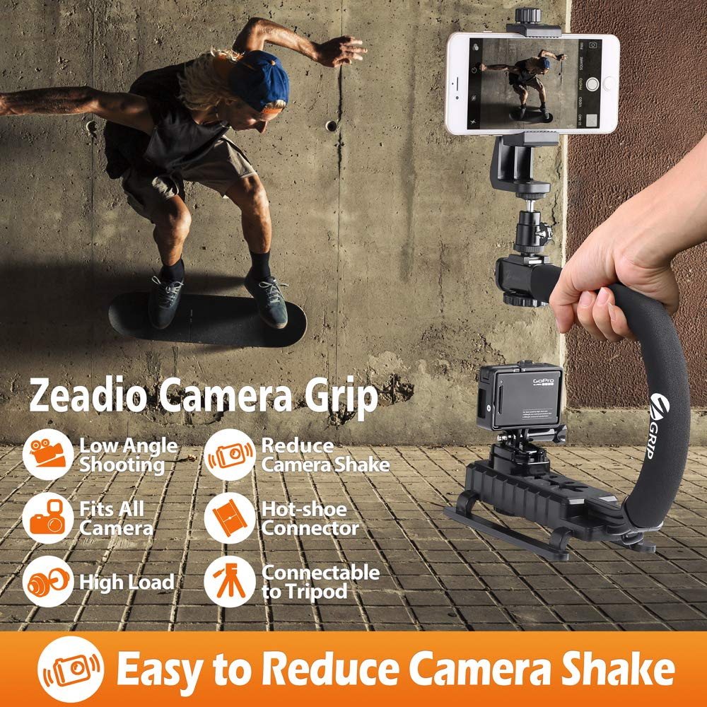 Zeadio Metal Triple zapata estabilizador de mano Upgrade Versi/ón Combo para todos los tel/éfonos inteligentes y c/ámaras de c/ámara r/éflex digital DV