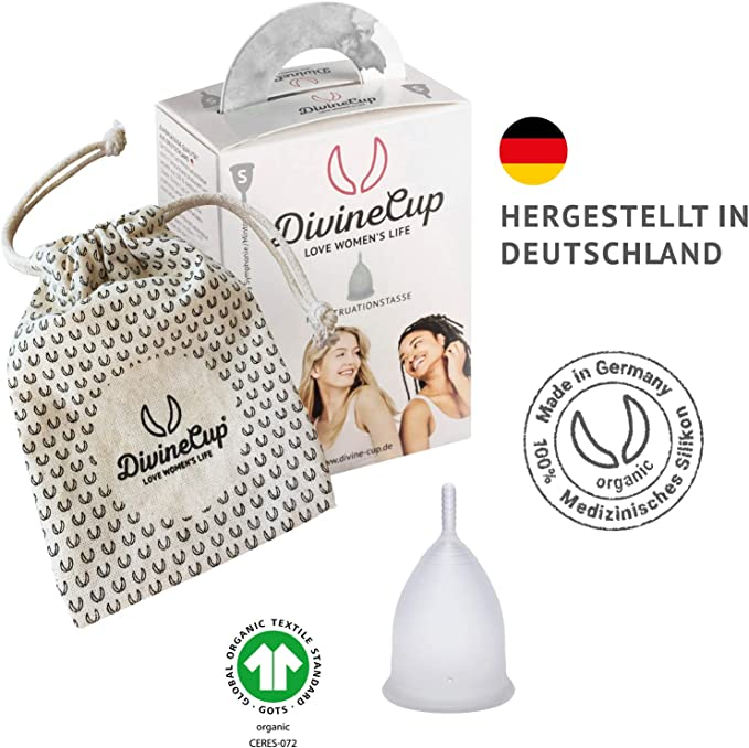 DIVINE CUP copa menstrual tamaño S, pequeña - Clínicamente probada, nota MUY BIEN - 100% Made in Germany - Transparente, disponible en cuatro colores ...