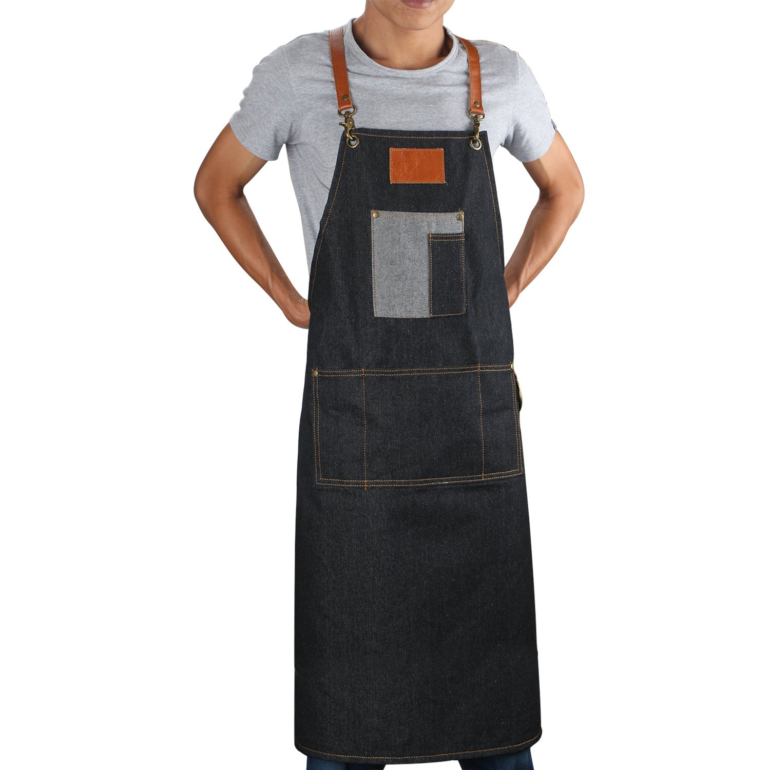 Craftsman Work Apron Extra Long for Men, 39.21'' Plus Jean Denim Apron with 5 Pockets, Adjustable Waist Straps Barber Apron Vendor Aprons, Professional Shop Apron for Server Seg-Beauty