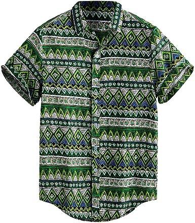 Longra 🚴♀️ Tops únicos de los Hombres! Hombres Populares Impresos Hawaianos Sueltos de Manga Corta Masculinos Favoritos Casuales Botones Camiseta: Amazon.es: Ropa y accesorios