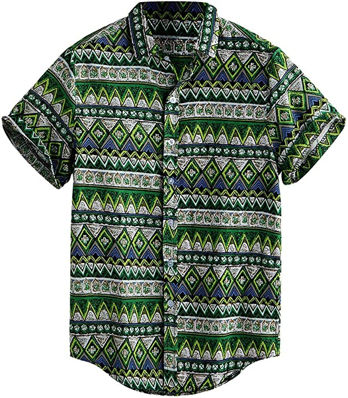 Mens Business Shirts,Mens Hawaiian Button Down 3D Print Summer Long Sleeve Tropical Aloha Dress Shirts