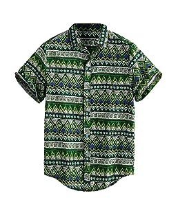 Men's Printed Hawaiian Loose Short Sleeve Casual Button T Shirt Pocket Beach Tee Comfortable Tank Tops (Print 1, XX-Large 45.28'')
