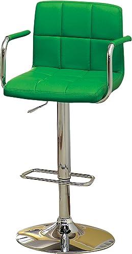 Furniture of America Modern Chelsea Leatherette Swivel Bar Stool, Green
