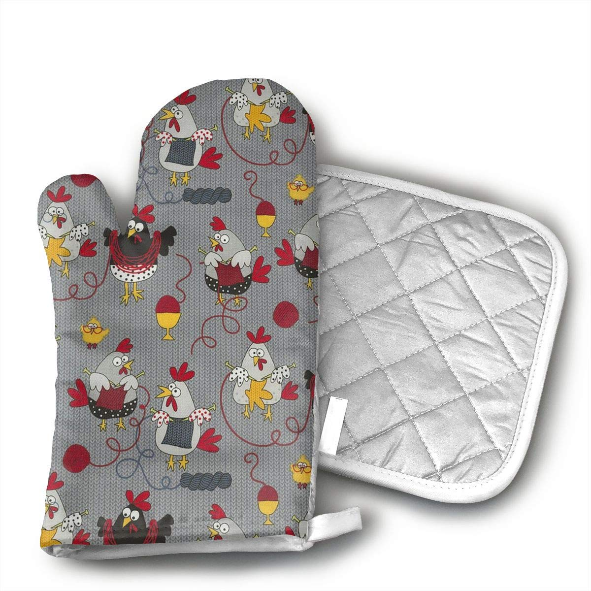 Star Blue Design Red Chicken Grey Oven Mitts & Heat Resistant Pot Holder - with Polyester Cotton Non-Slip Grip, Best Used As Baking, Grilling, BBQ, Cooking, Kitchen Or Oven Gloves