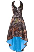 LEJY Women's Halter Hi-Lo Camo Bridesmaid Dresses Camoflage Wedding Party Gowns