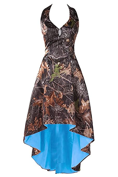 Review LEJY Women's Halter Hi-Lo Camo Bridesmaid Dresses Camoflage Wedding Party Gowns