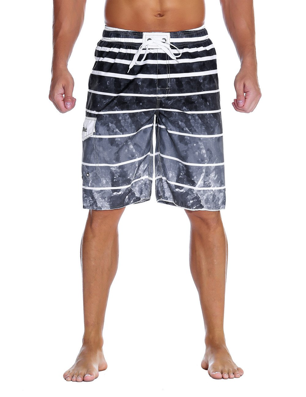 Nonwe Men's Beachwear Quick Dry Holiday Drawstring Striped Swim Trunks Gray Pattern 38 by Nonwe