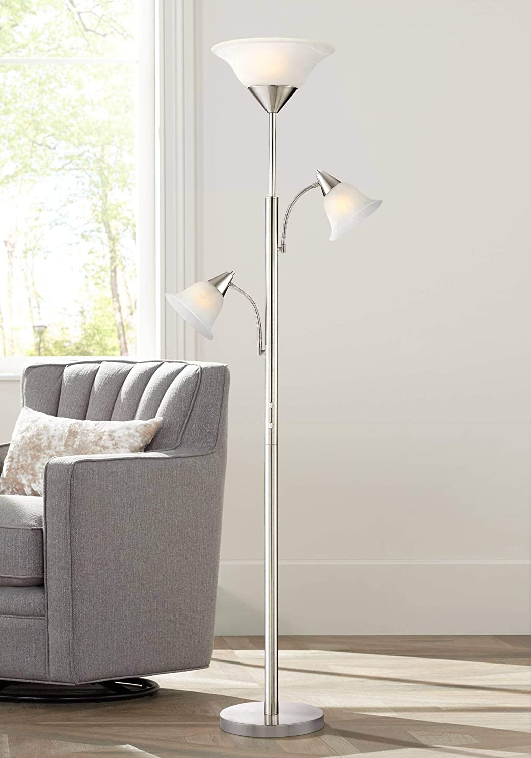 Jordan Modern Torchiere Floor Lamp 3-Light Tree Brushed Steel Alabaster Glass Shades for Living Room Reading Bedroom Office – 360 Lighting