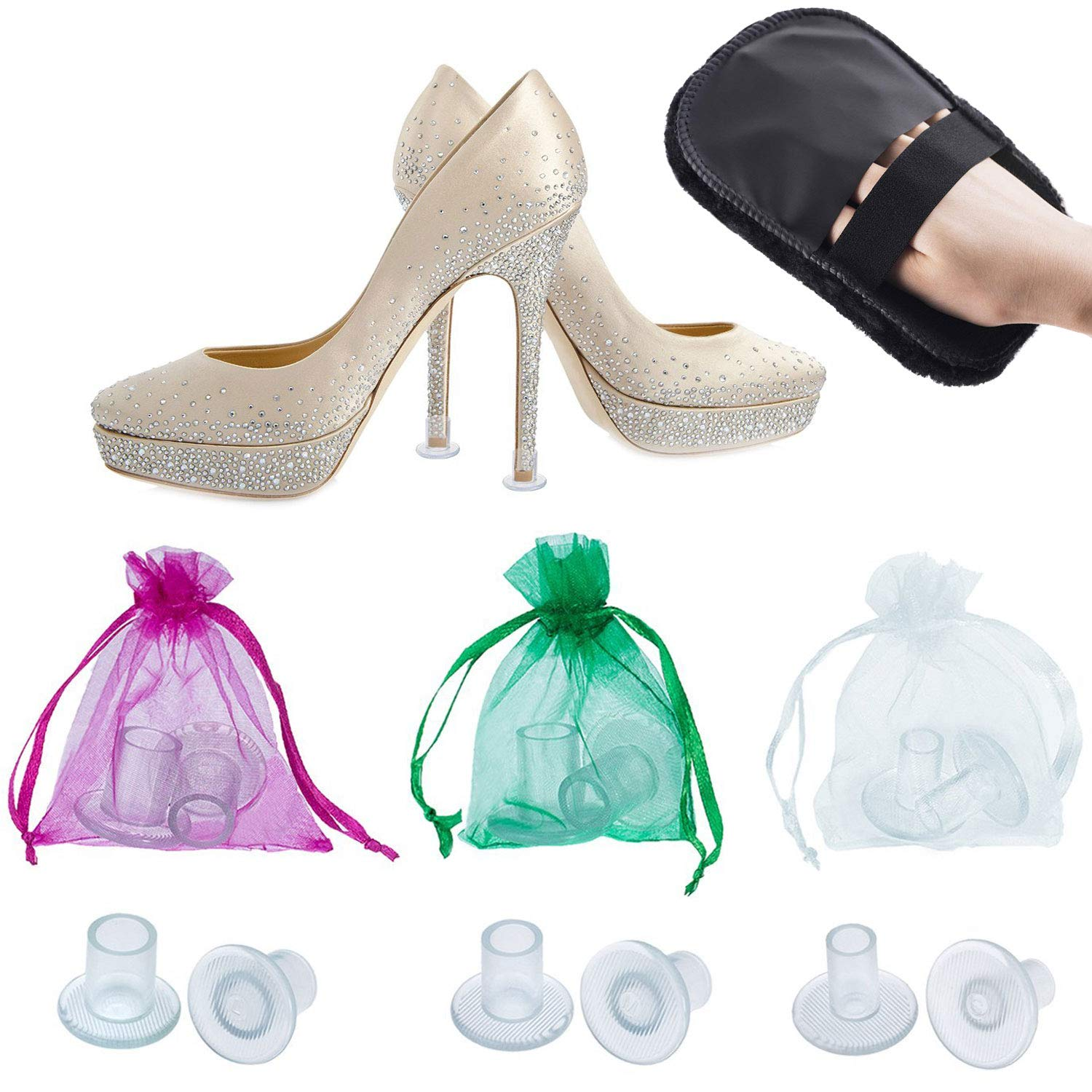 342c17cfd1a High Heel Protectors by MEGON - Heels Stopper for Women's Shoes, 6 pairs  Small/Medium/Large - Perfect for Weddings, Races, Formal Occasions - ...