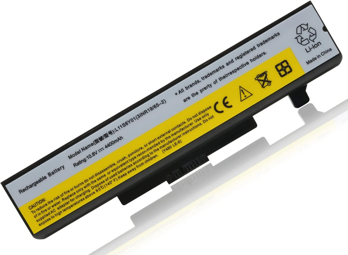 G480 G580 Z380 Z480 Z580 Z585 Replacement Laptop Battery for Lenovo IdeaPad Y480 Y580 Series Compatible P/N:L11S6Y01 L11L6Y01 45N1043