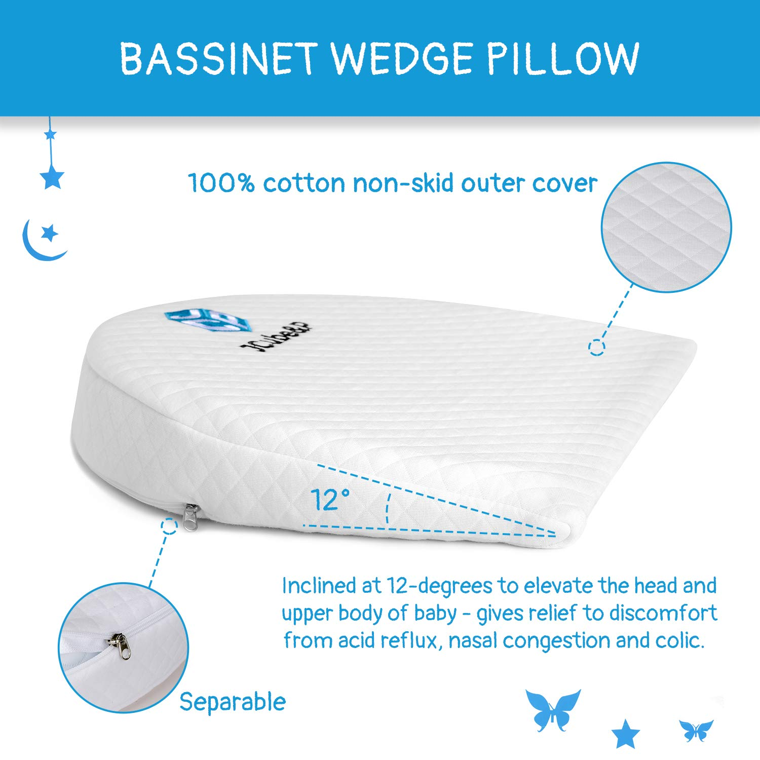 Nasal Congestion JCube/&P Bassinet Wedge Newborn Bassinet Wedge 2 Free Pacifiers Baby Bassinet Wedge Pillow with Cotton /& Waterproof Covers Colic /& Acid Reflux Relief Bassinet Wedge Pad