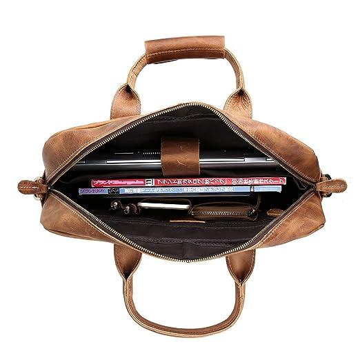 e13e9f26a051a S-ZONE Sac Homme Vintage Cuir Véritable pour Ordinateur Portable 17 Pouces  Sac Messenger: Amazon.fr: High-tech