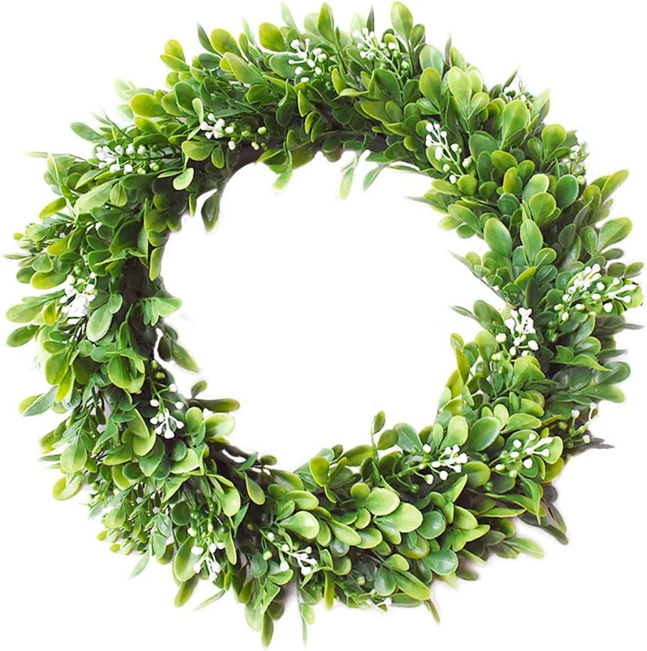Palmhill 14 Eucalyptus Wreath Artificial Wreath Door Wreath Leaves Wreath Eucalyptus Garland For Home Front Door Office Wall Wedding Decor Large Eucalyptus Wreath Bodhi Garland Amazon Co Uk Kitchen Home