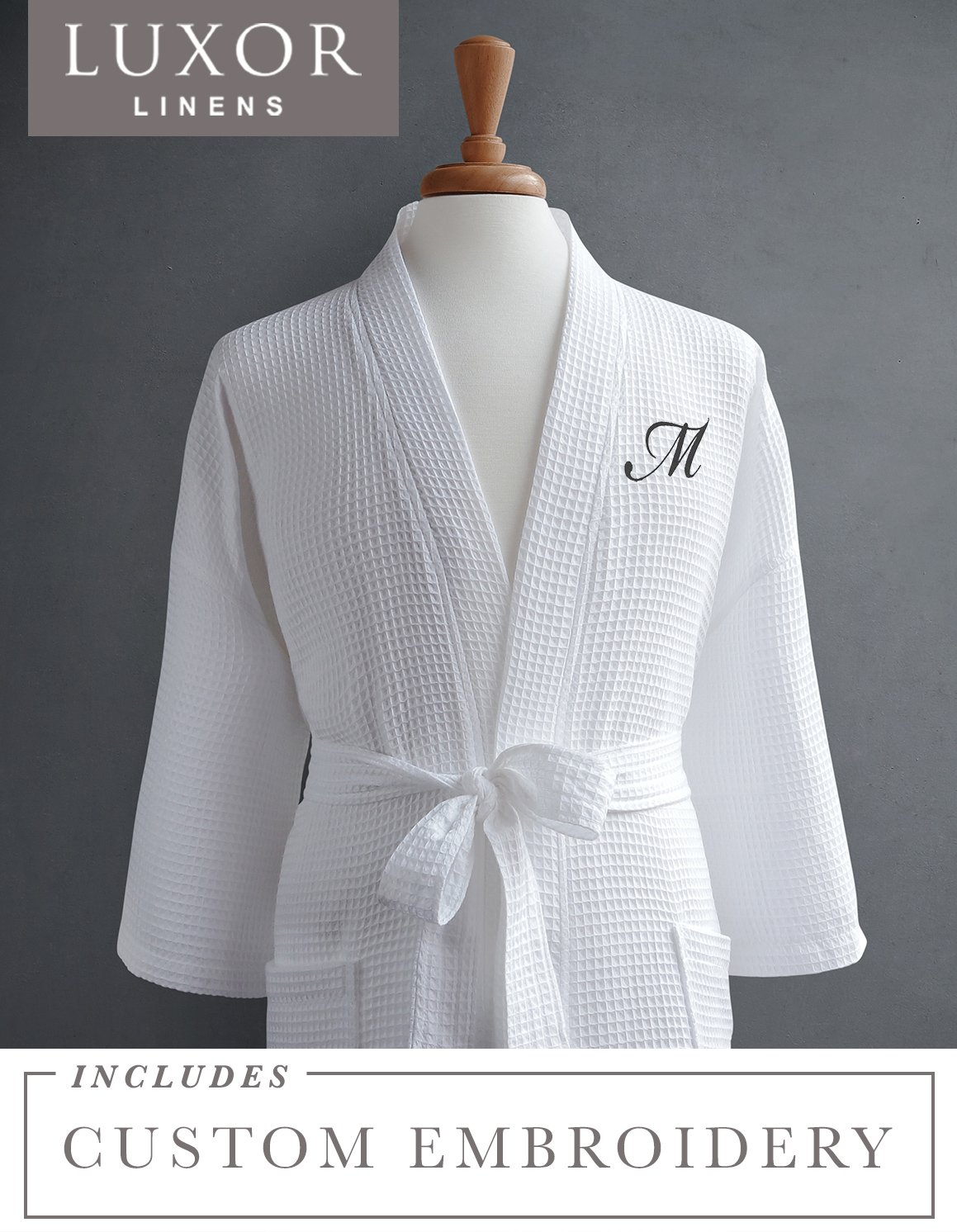 Luxor Linens Waffle Robe - 100% Egyptian Cotton - Unisex/One Size Fits Most - Waffle Weave, Spa Bathrobe, Luxurious, Soft, Plush - Perfect for All Seasons Giovanni Collection - 1-pc Customizable
