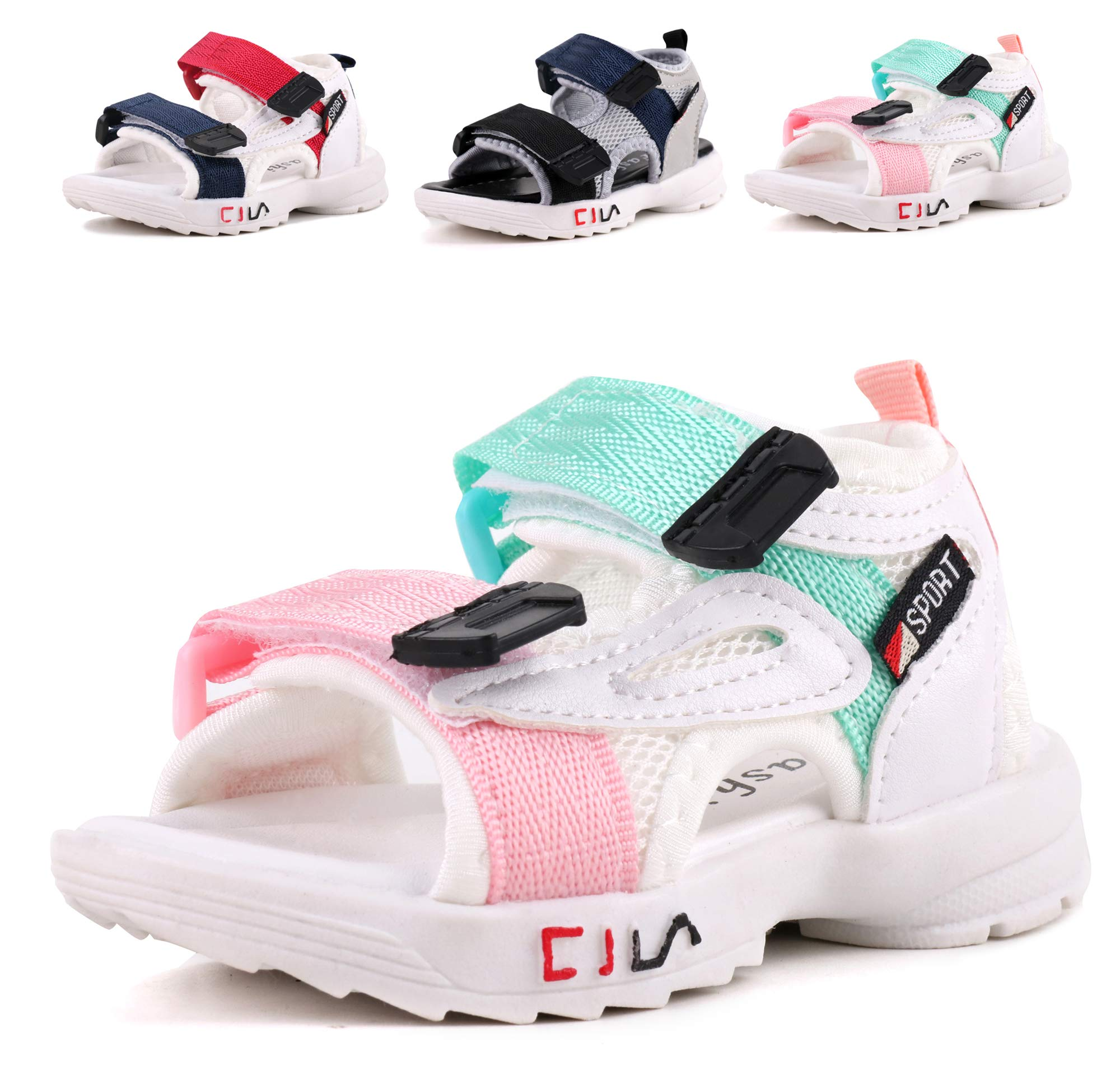 LONSOEN Boys Girls Outdoor Athletic Sport Sandals Kids Hiking Water Beach Sandal Shoes,KSD011 Pink/Green CN23