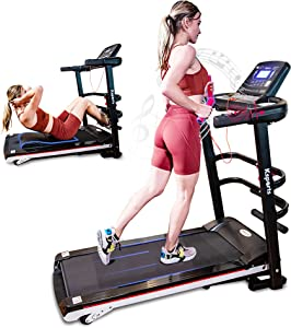Ksports Treadmill Bundle Comprising of Electric Folding Treadmill for Home, Sit Ups Rack & Ab Mat & Dumb Bells for Home Office Gym, Patent Pending Design with Incline for Jogging, Walking w/Smart APP