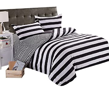 Superb YOUSA Black White Bedding Striped Bedding Set Duvet Cover With 2 Pillow  Shams Queen