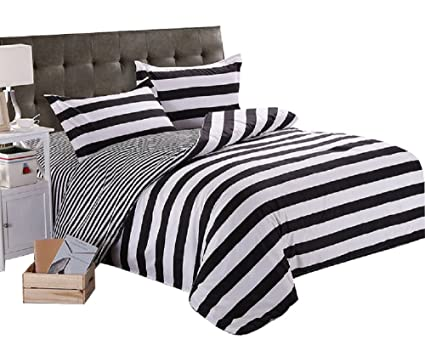 YOUSA Black White Bedding Striped Bedding Set Duvet Cover With 2 Pillow  Shams King