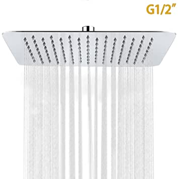 SR SUN RISE 10 Inch Ultra Thin Solid Square Stainless Steel Rain Shower Head  High Pressure
