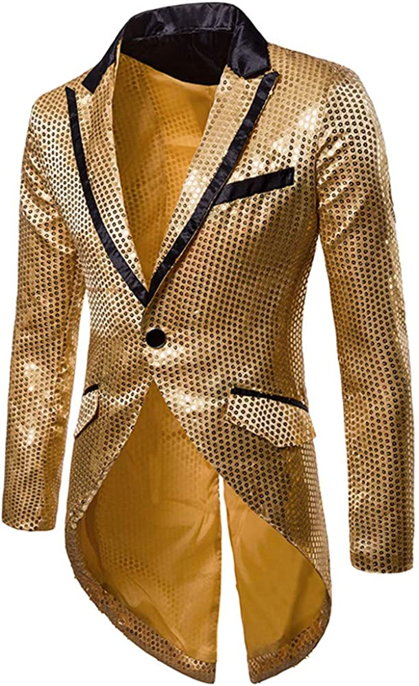 Cloudstyle Mens Sequin Tailcoat Swallowtail Suit Jacket Party Show Tux Dress Coat