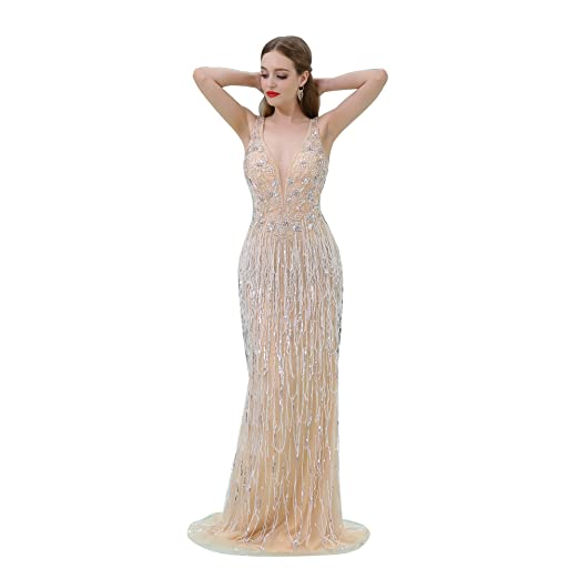 33772fb0 Image Unavailable. Image not available for. Color: JoyVany Women's Halter  Sequin Beaded Dress Luxurious Long Bridesmaid Dresses