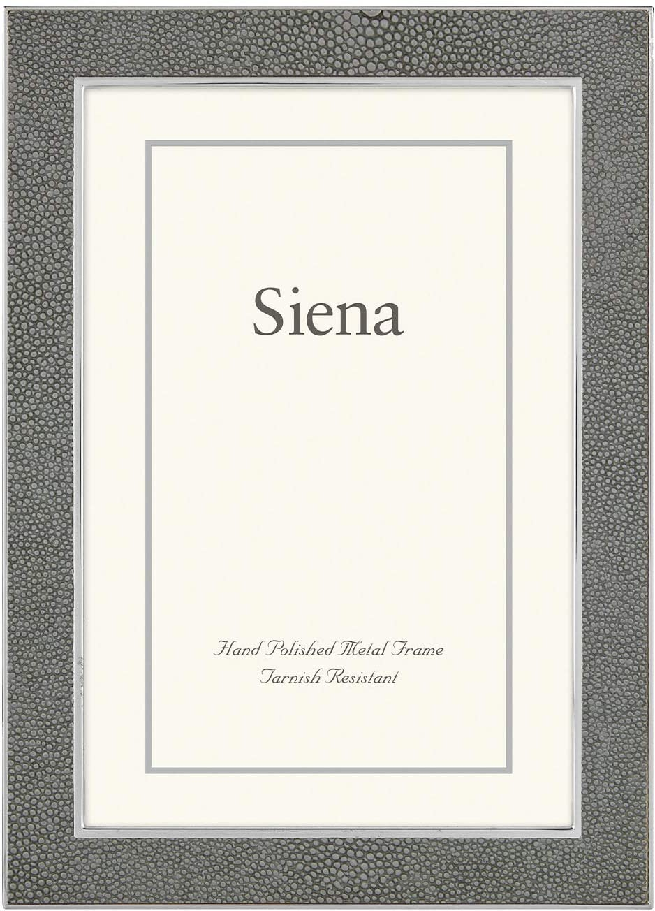 Siena 5x7 Tarnish Resistant Silver Metal Picture Frame with Faux Shagreen, Fashionable Design & Velvet Easel Back, Boutique Quality Photo Frame (Grey)
