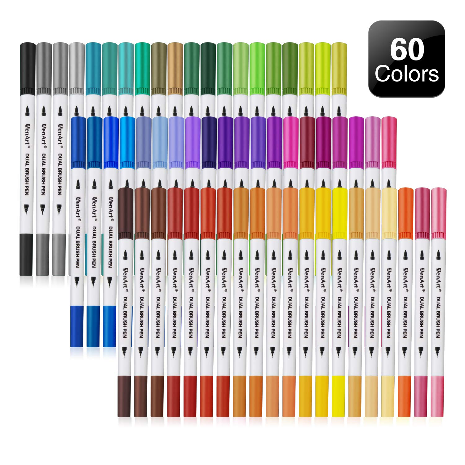 Dual Tip Brush Markers Pen 60 Colors, Fine and Brush Tip Colored Dual Pens for Coloring Books, Drawing, Bullet Journal, Planner, School Art Projects by Aen Art