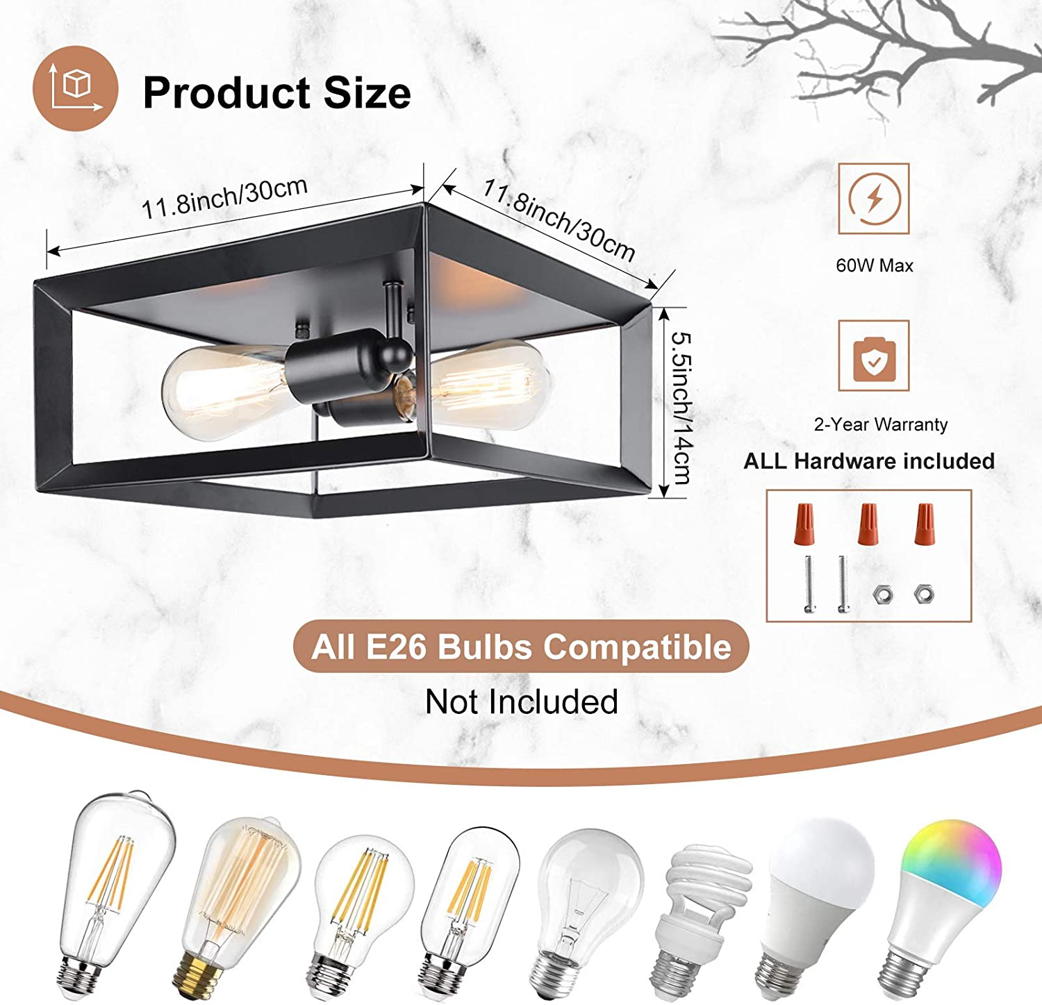 2-Light Flush Mount Ceiling Light Fixture Farmhouse Vintage Close to Ceiling Lights for for Kitchen Bedroom Foyer Hallway Stairway Entryway E26 Base Industrial Black Metal Ceiling Light