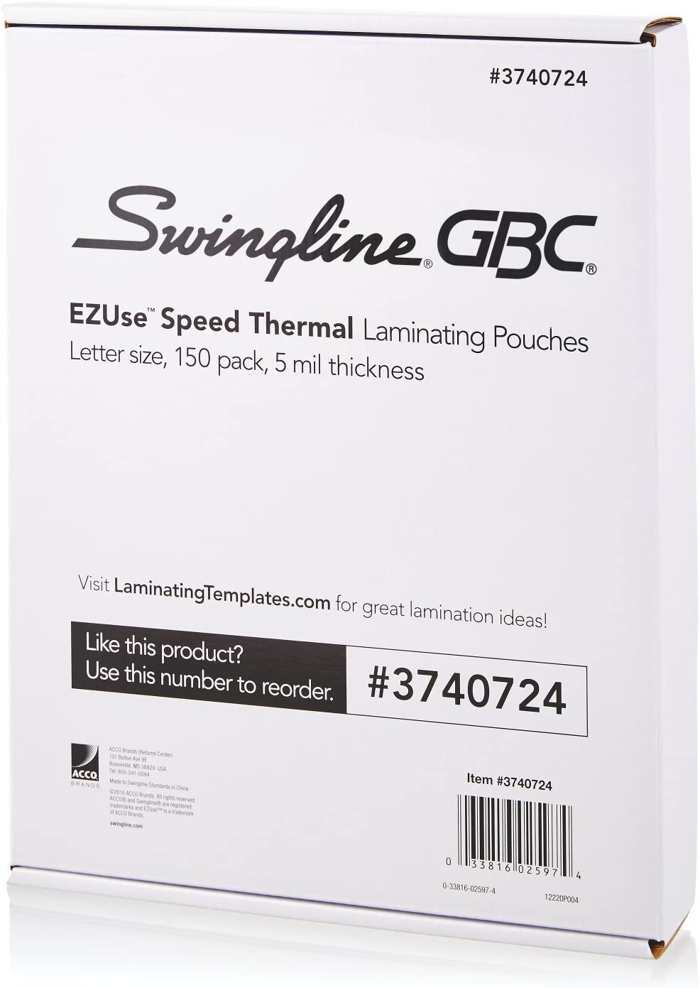 Swingline Thermal Laminating Sheets Letter Size Pouch Standard Th... Pouches