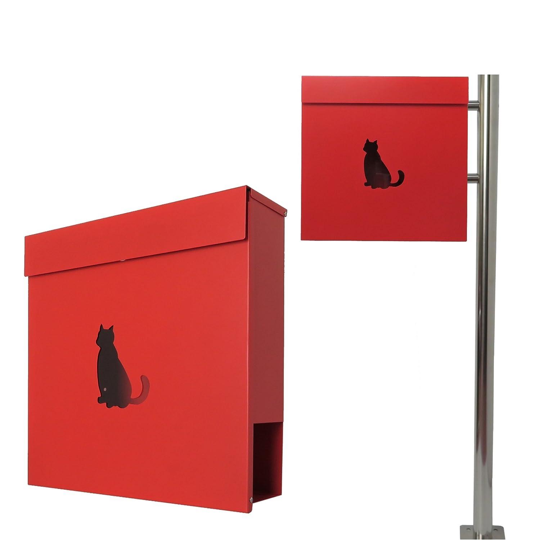郵便ポスト郵便受けおしゃれ北欧大型鍵付きスタンド型マグネット付きレッド赤色ポストpm281s-pm383 B07BJX6JN2 15880
