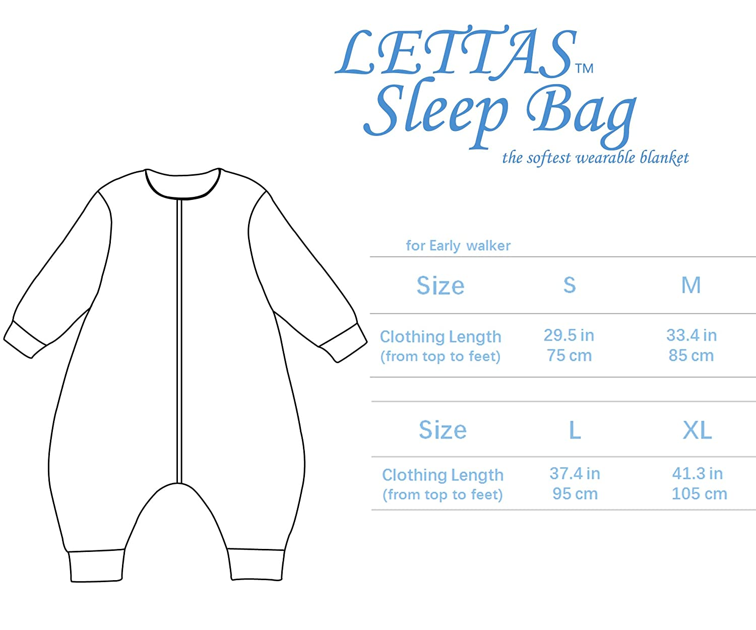 LETTAS Baby Boys and Girls Quilted Cotton Stripe Detachable Sleeve Zip 2.5 Tog Sleeping bag with Feet for Early Walker CALT017QuitedBlueS