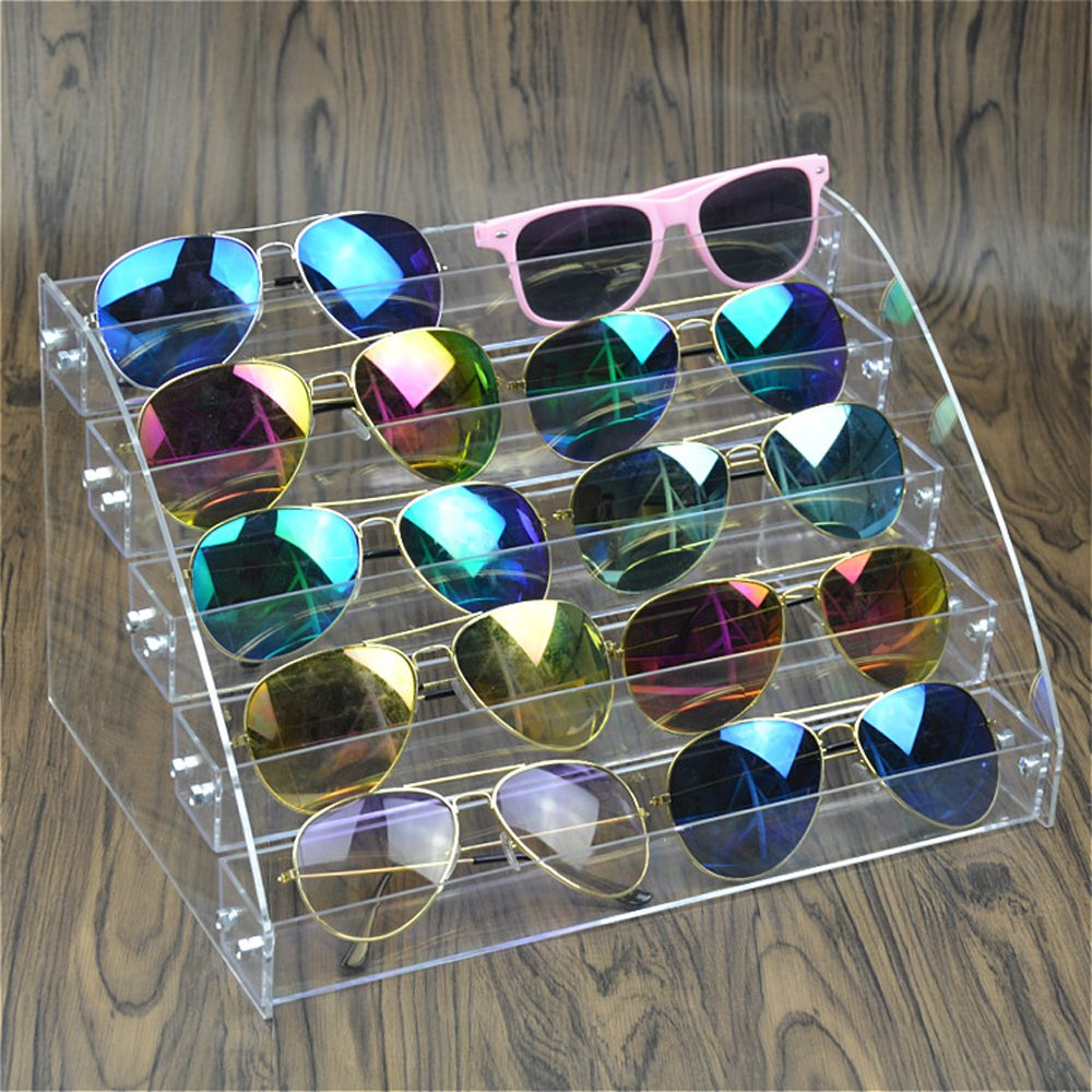 MineDecor 10 Piece Acrylic Sunglasses Organizer Clear Eyeglasses Display Case 5 Tier Eyewear Storage Tray Box For Glasses Tabletop Holder Stand