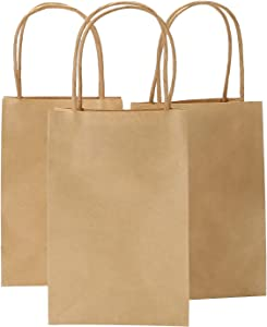 Ronvir 5.25 x 3.25 x 8 Inches Brown Small Kraft Paper Bags with Handles, Shopping, Grocery, Mechandise, Party Bags (100)