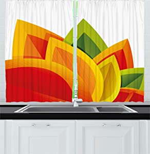 Ambesonne Abstract Decor Kitchen Curtains, Digital Abstract Autumn Leaf Theme Fall Foliage Forest Maple Season Art, Window Drapes 2 Panels Set for Kitchen Cafe, 55 W X 39 L Inches, Orange Green