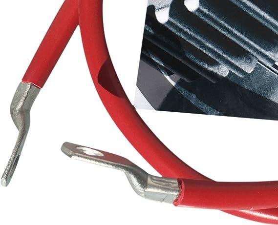 eXODA Cavo Batteria con portafusibili 25 mm/² 200cm con Occhielli ad Anello M8 e M10 Rosso