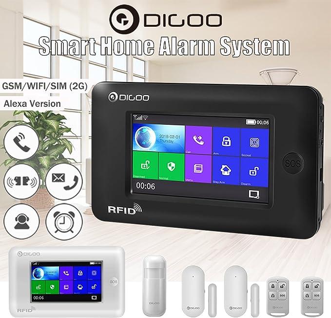 Digoo DG HAMA All Touch Screen Alexa Version 433MHz GSM/&WIFI DIY Smart Home Security Alarm System Ki
